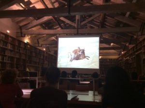 la proiezione alla Fondazione Zeri del documentario su Zeri e i dipinti su pietra, (Anna Zanoli, 1997)