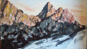 Tramonto sulle Dolomiti 80x80 acrilico 2016